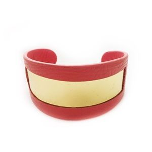 BCBGENERATION CUFF BRACELET CORAL LEATHER GOLD